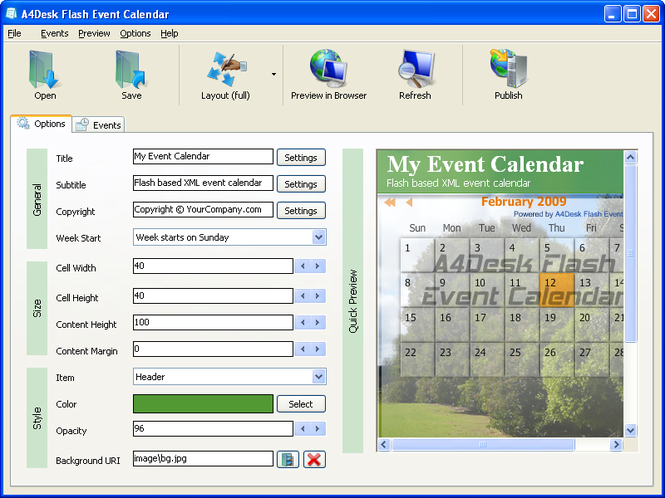 A4Desk Flash Event Calendar Screenshot 1