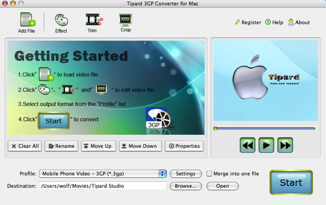 Tipard 3GP Converter for Mac Screenshot