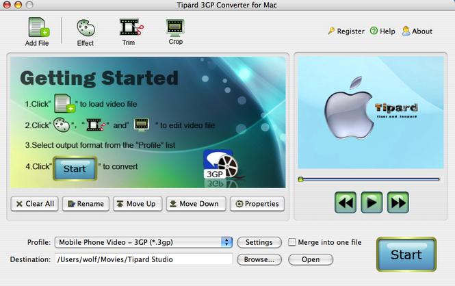 Tipard 3GP Converter for Mac Screenshot 1