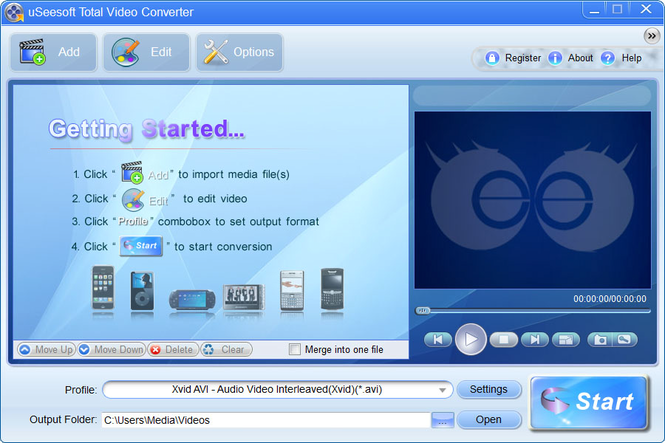 uSeesoft Total Video Converter Screenshot 1