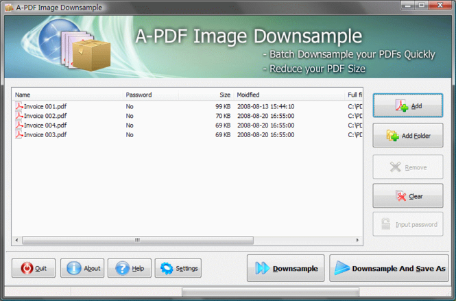A-PDF Image Downsample Screenshot