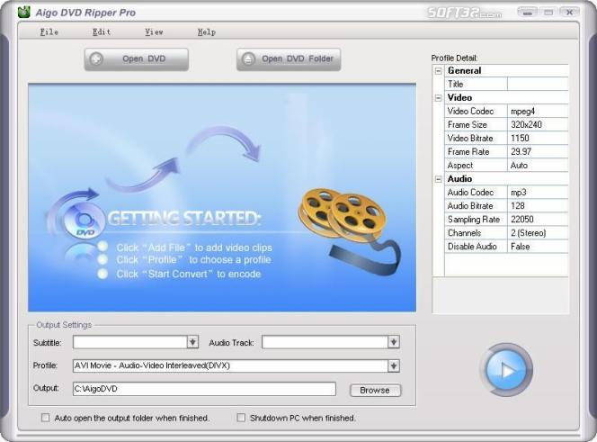 Aigo DVD Ripper Pro Screenshot