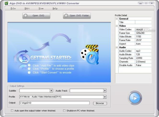 Aigo DVD to AVI/MPEG/XVID/MOV/FLV/WMV Converter Screenshot 1