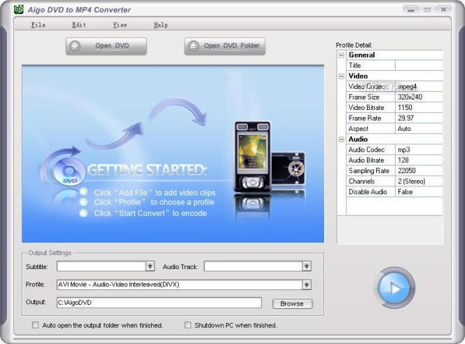 Aigo DVD to MP4 Converter Screenshot