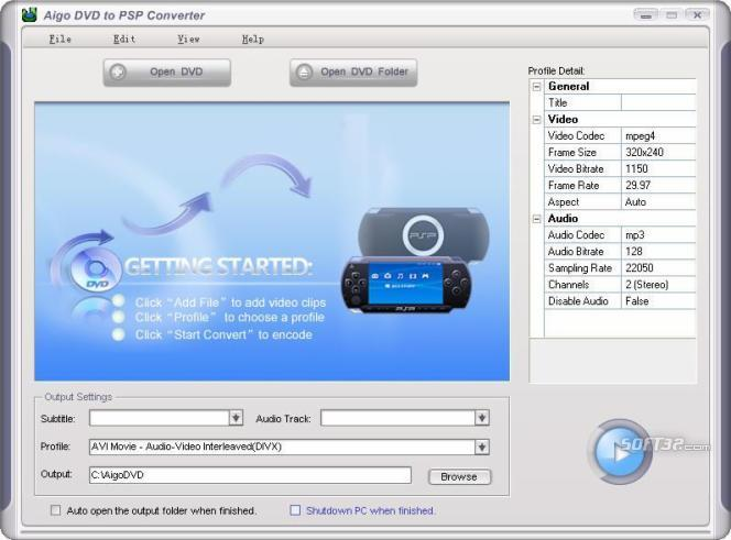 Aigo DVD to PSP Converter Screenshot