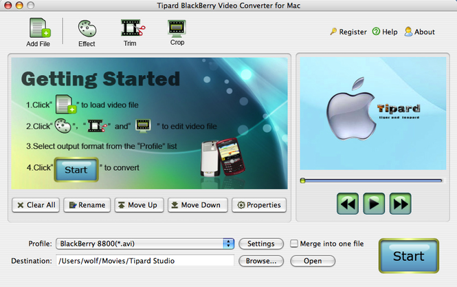 Tipard BlackBerry VideoConverter for Mac Screenshot