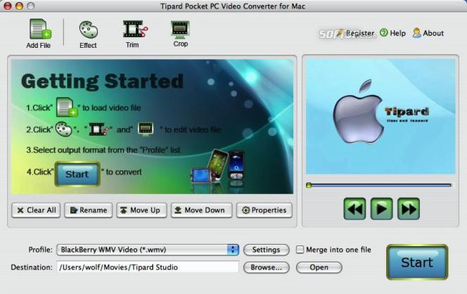 Tipard Pocket PC Video Converter for Mac Screenshot 2