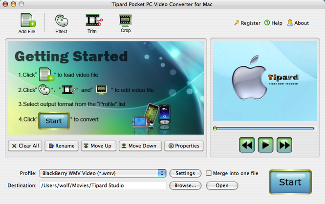 Tipard Pocket PC Video Converter for Mac Screenshot