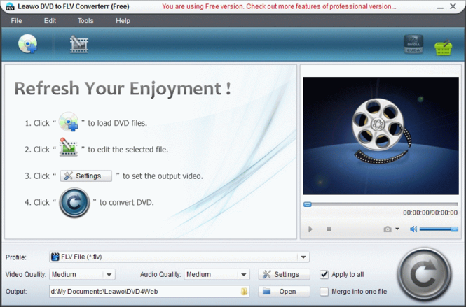 Leawo Free DVD to FLV Converter Screenshot
