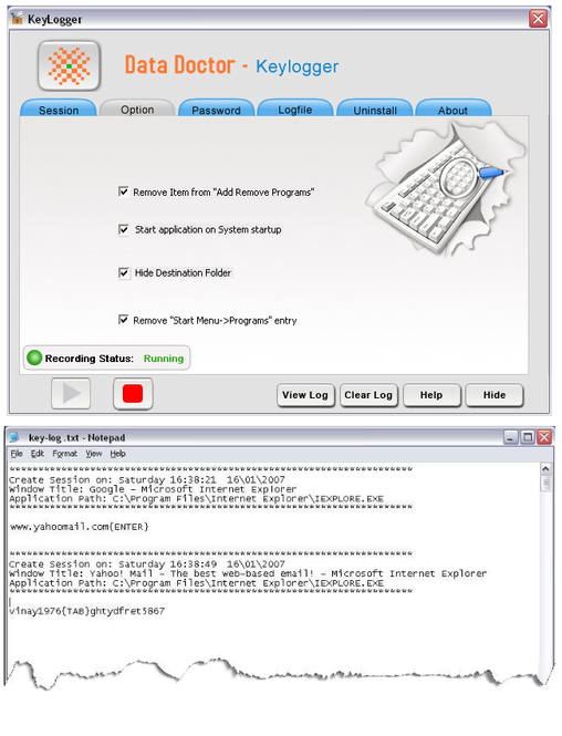 Keyboard Keystrokes Logger Screenshot