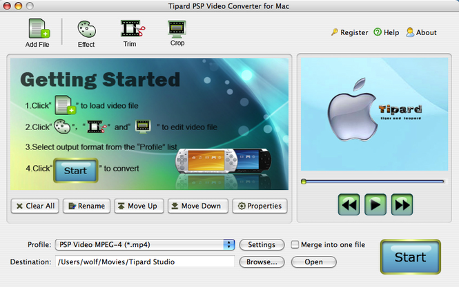 Tipard PSP Video Converter for Mac Screenshot