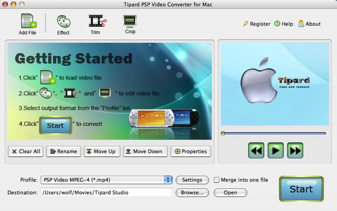 Tipard PSP Video Converter for Mac Screenshot 1