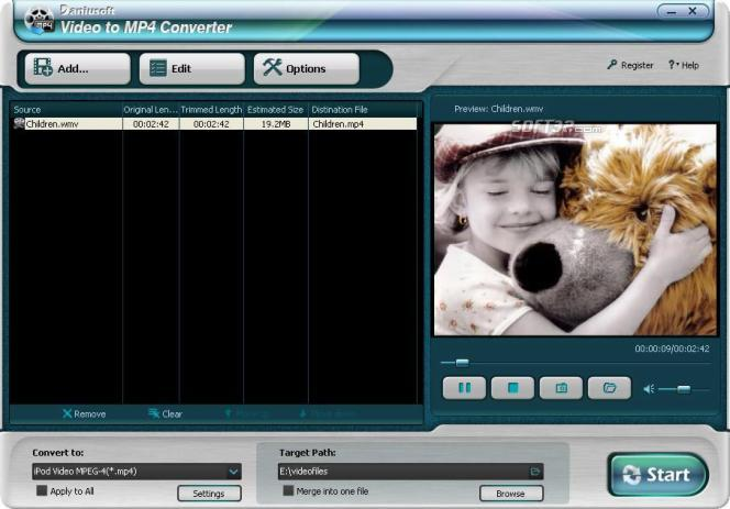 Daniusoft Video to MP4 Converter Screenshot 1