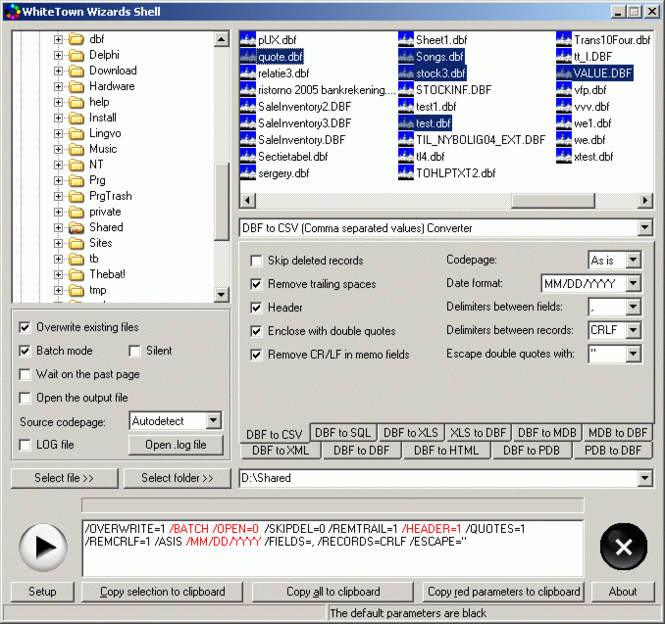 DBF Converters Shell Screenshot