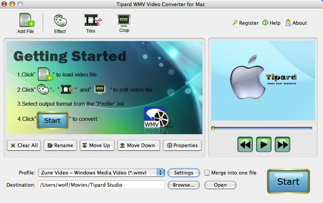 Tipard WMV Video Converter for Mac Screenshot