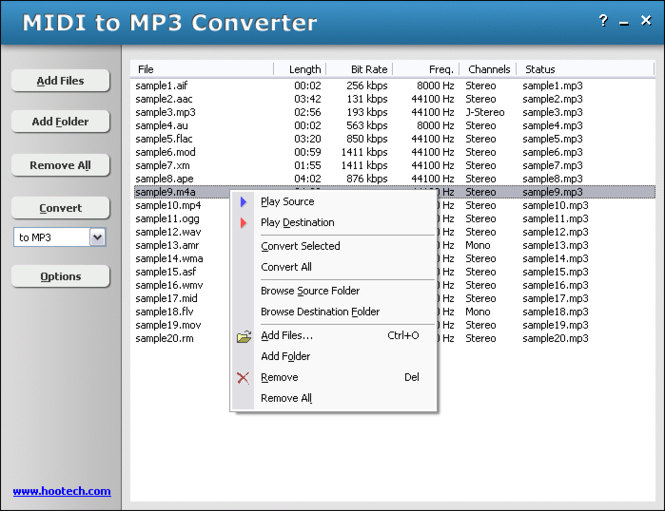 HooTech MIDI to MP3 Converter Screenshot