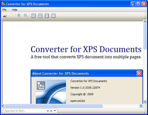 Converter for XPS Documents Screenshot