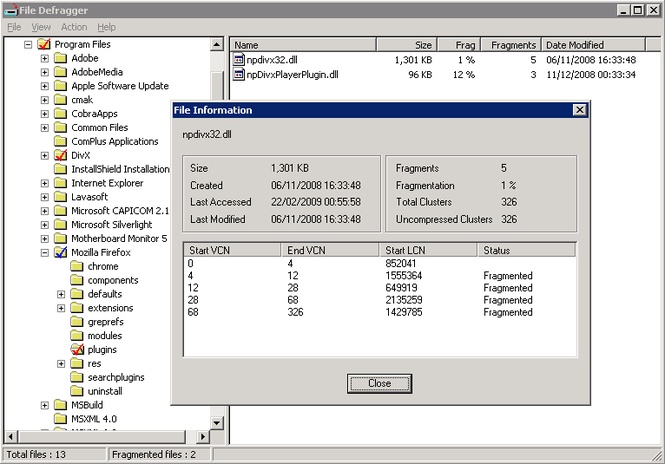 Cobra File Defrag Screenshot
