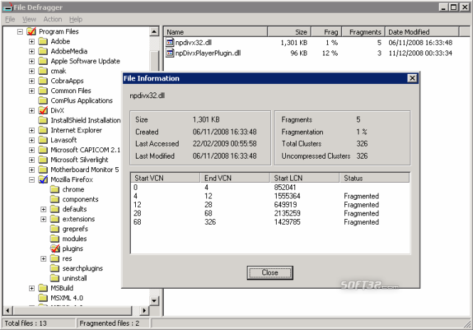 Cobra File Defrag Screenshot 3