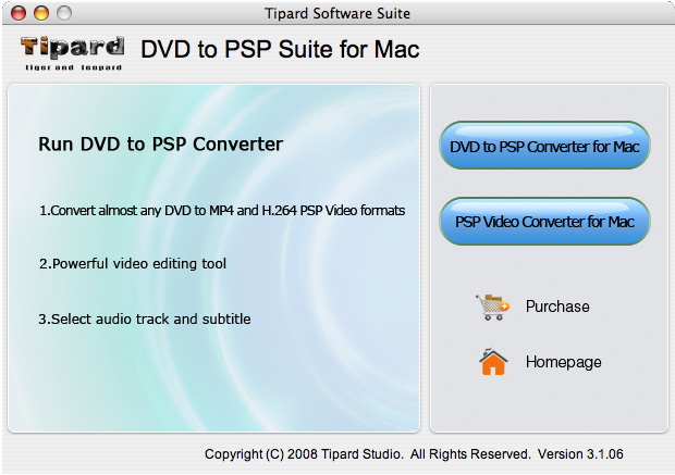 Tipard DVD to PSP Suite for Mac Screenshot
