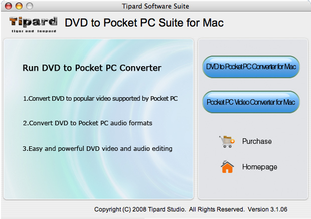 Tipard DVD to Pocket PC Suite for Mac Screenshot
