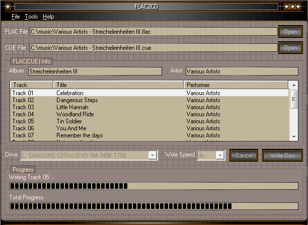 FLAC2CD Screenshot