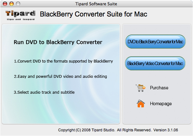Tipard BlackBerry ConverterSuite for Mac Screenshot