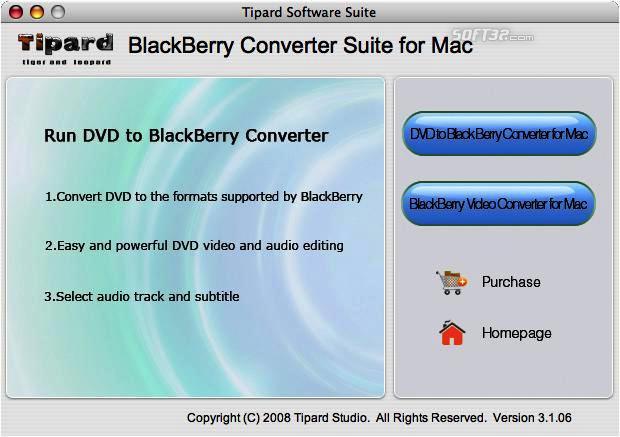 Tipard BlackBerry ConverterSuite for Mac Screenshot 2