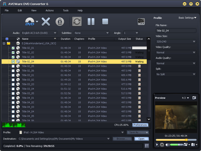 AVCWare DVD Converter Screenshot