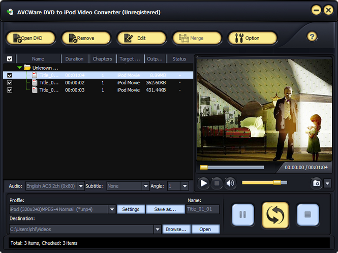 AVCWare DVD to iPod Video Converter Screenshot