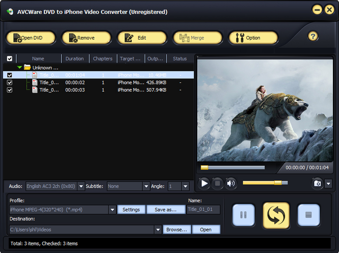 AVCWare DVD to iPhone Video Converter Screenshot