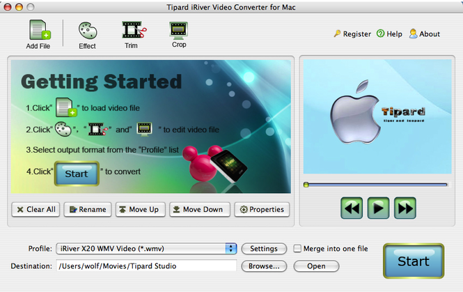Tipard iRiver Video Converter for Mac Screenshot 1
