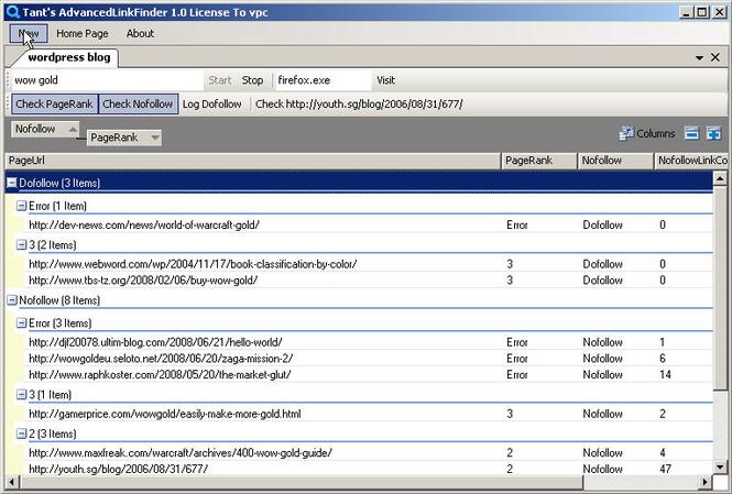 AdvancedLinkFinder Screenshot 1