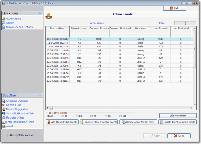 HSLAB Access Control NEE Screenshot