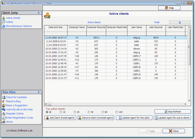 HSLAB Access Control NEF Screenshot