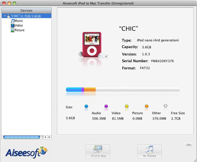 Aiseesoft iPod to Mac Transfer Screenshot 2