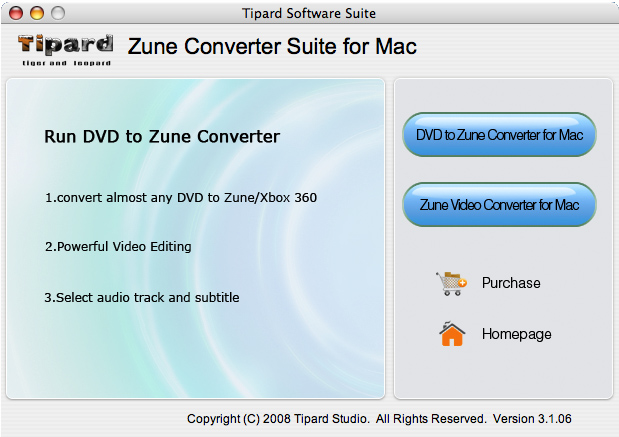 Tipard Zune Converter Suite for Mac Screenshot