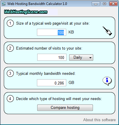 Web Hosting Bandwidth Calculator Screenshot