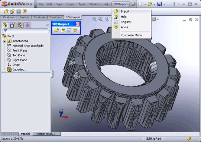 3DM Import for SolidWorks Screenshot