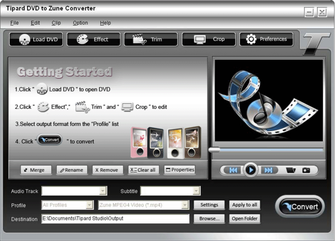 Tipard DVD to Zune Converter Screenshot