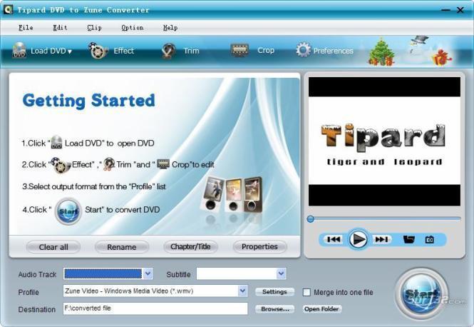 Tipard DVD to Zune Converter Screenshot 2
