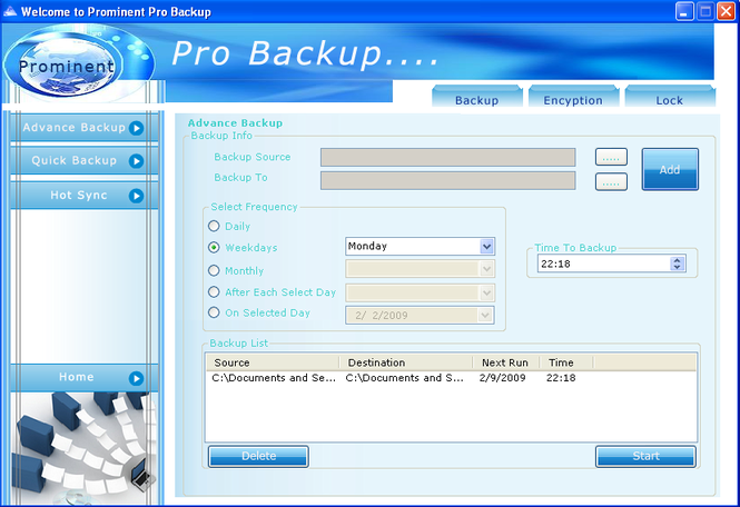 Prominent Pro Backup Screenshot