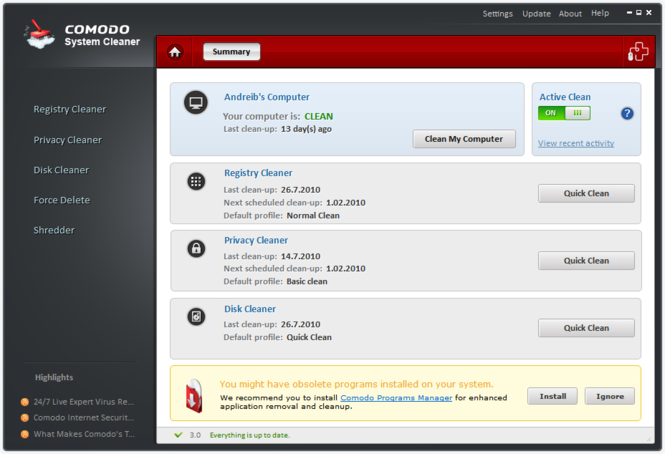 Comodo System-Cleaner Screenshot