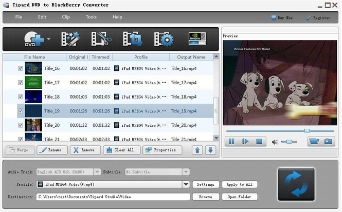 Tipard DVD to BlackBerry Converter Screenshot