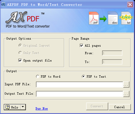AXPDF PDF to TEXT Converter Screenshot