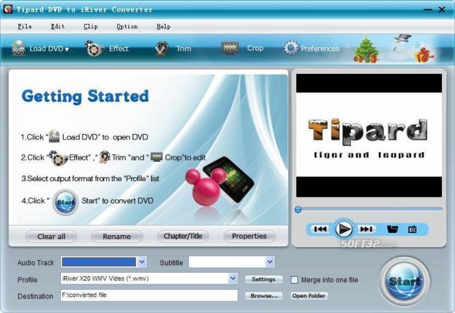 Tipard DVD to iRiver Converter Screenshot 2