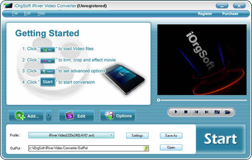 iOrgSoft iRiver Video Converter Screenshot 1