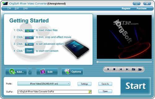 iOrgSoft iRiver Video Converter Screenshot 2