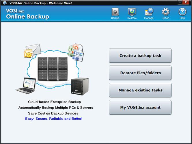 VOSI.biz Online Backup Screenshot