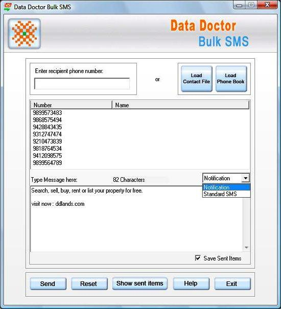 PDA to Mobile Bulk SMS Screenshot